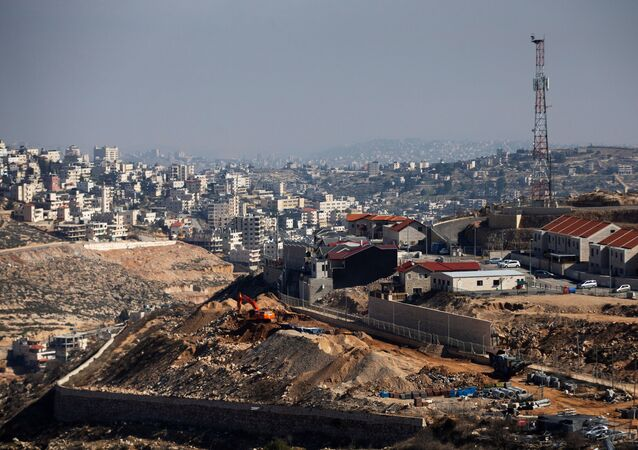 A general view picture shows a construction site in the Israeli settlement of Efrat in the Gush Etzion settlement block in the West Bank. File pho