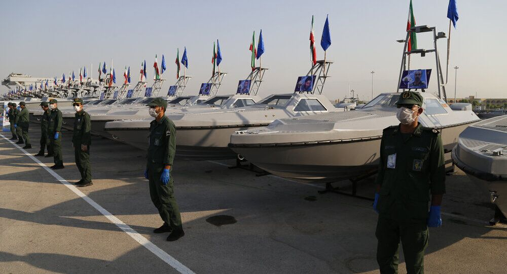 IRGC receives offensive fast boats at a ceremony in Bandar Abbas, May 28, 2020.