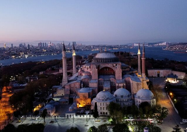 An aerial view of the Byzantine-era monument of Hagia Sophia in Istanbul, Turkey, April 24, 2020.