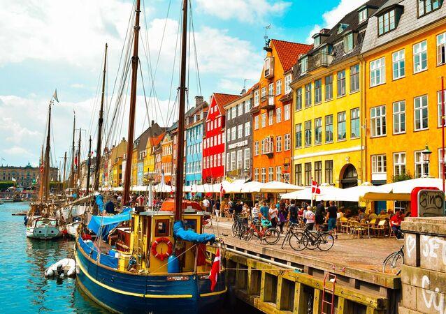 A view of the Nyhavn district in Copenhagen, Denmark