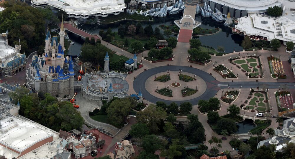 Disney's Magic Kingdom theme park is seen empty of visitors after it closed in an effort to combat the spread of coronavirus disease (COVID-19), in an aerial view in Orlando, Florida, U.S. March 16, 2020.