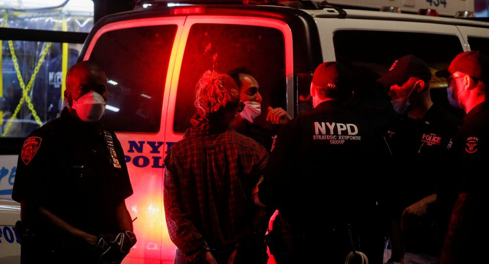 NYPD cop cars filmed plowing into protesters as they converged on vehicle