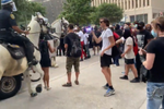 Mounted Police Clashes With People at Houston, Texas