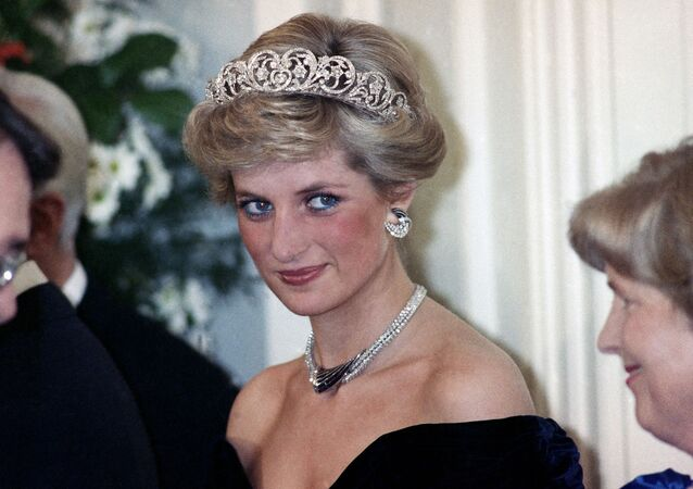 The Princess of Wales is pictured during an evening reception given by the West German President Richard von Weizsacker in honour of the British Royal guests in the Godesberg Redoute in Bonn, Germany on Monday, Nov. 2, 1987