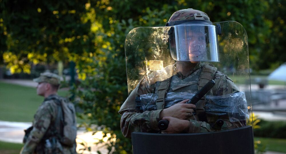 The National Guard protected a barricaded Centennial Olympic Park in Downtown Atlanta during a protest against the death in Minneapolis police custody of African-American man George Floyd, in Atlanta, Georgia, U.S. May 30, 2020