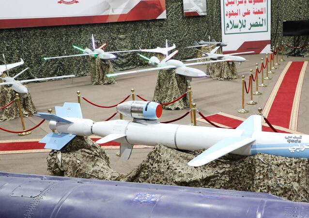 Missiles and drone aircrafts are put on display at an exhibition at an unidentified location in Yemen in this undated handout photo released by the Houthi Media Office July 9, 2019