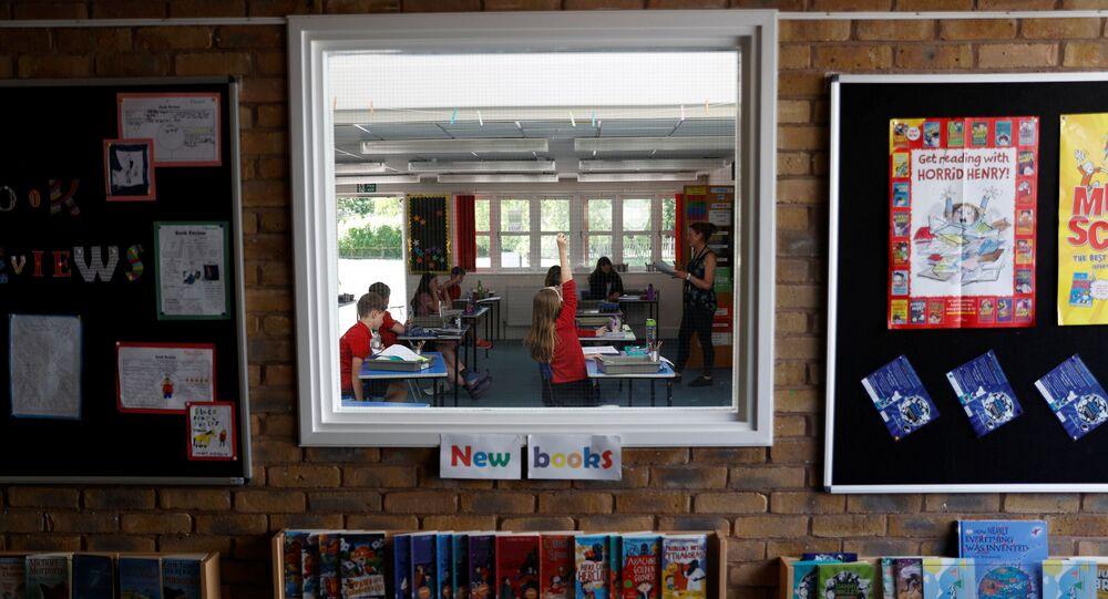 Children are seen in a classroom at Watlington Primary School as some schools re-open, following the outbreak of the coronavirus disease (COVID-19), Watlington, Britain, June 1, 2020