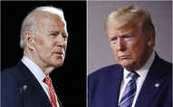 FILE - In this combination of file photos, former Vice President Joe Biden speaks in Wilmington, Del., on March 12, 2020, left, and President Donald Trump speaks at the White House in Washington on April 5, 2020