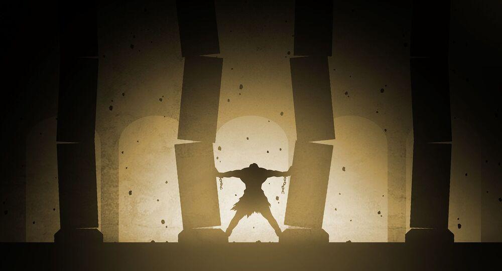 Samson pushing pillars of the Temple of Dagon