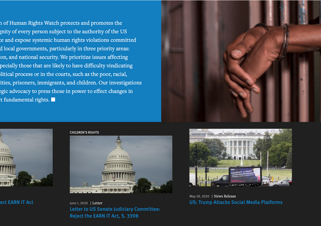 Screenshot of the Human Rights Watch page dedicated to the United States