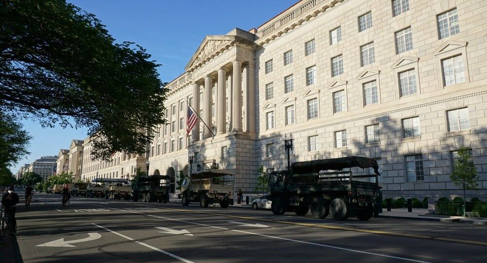 Military trucks arrive in US capital as Trump announces all federal resources will be mobilized to end unrest