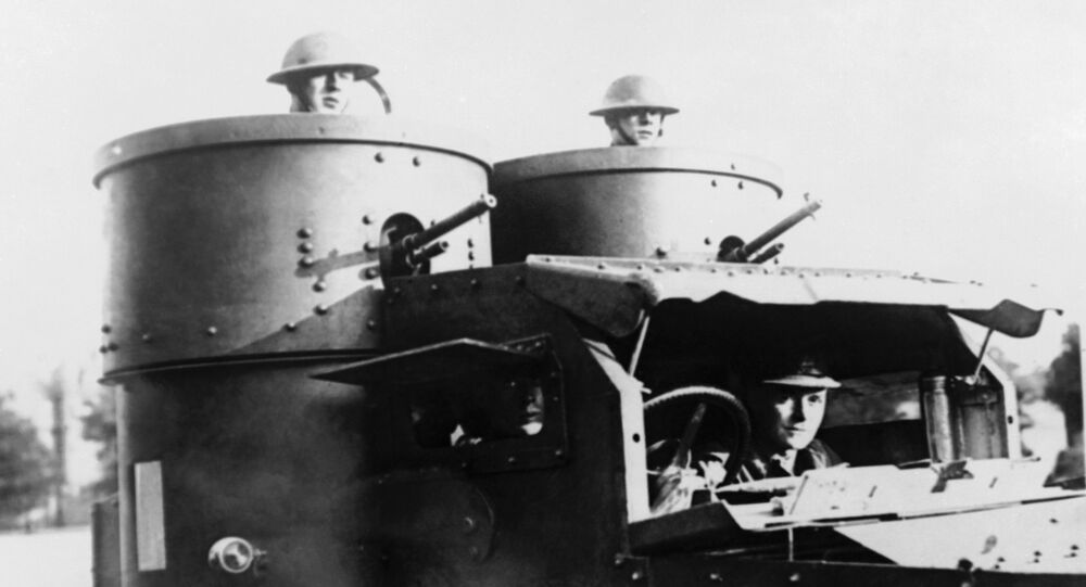 British armoured cars patrol a troubled area of Ireland in October 1920