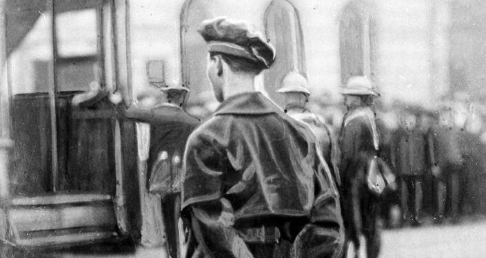 A member of Britain's Black and Tan paramilitary force during rioting in Dublin, Ireland in November 1920.