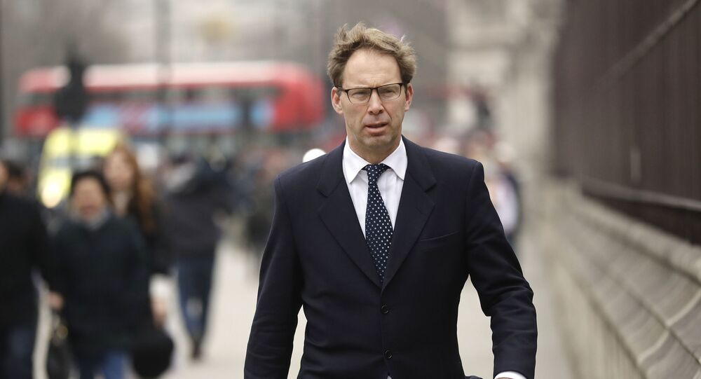Conservative MP Tobias Ellwood arrives at the Houses of Parliament in London, Friday March 24, 2017