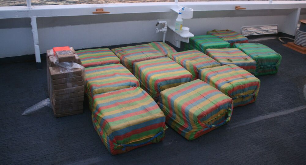 Suspected cocaine is shown on the deck of the Coast Guard Cutter Confidence in international waters of the Pacific Ocean off Central America in mid-May 2020. The Coast Guard seized approximately 1,090 pounds of suspected cocaine in mid-May with an estimated value of $18.7 million from a go-fast vessel
