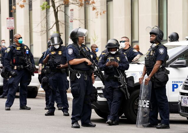 Department of Homeland Security (DHS) Police take to the streets as protests continue over the death in police custody of George Floyd, in Washington, U.S., June 2, 2020
