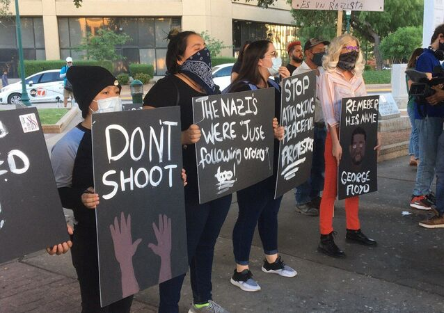 More than 200 protesters gathered in the west Texas town of El Paso Tuesday night to condemn racism and police brutality in light of George Floyd's death