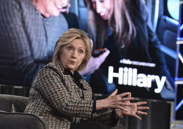 Hillary Clinton participates in the Hulu Hillary panel during the Winter 2020 Television Critics Association Press Tour, on Friday, Jan. 17, 2020, in Pasadena, Calif.
