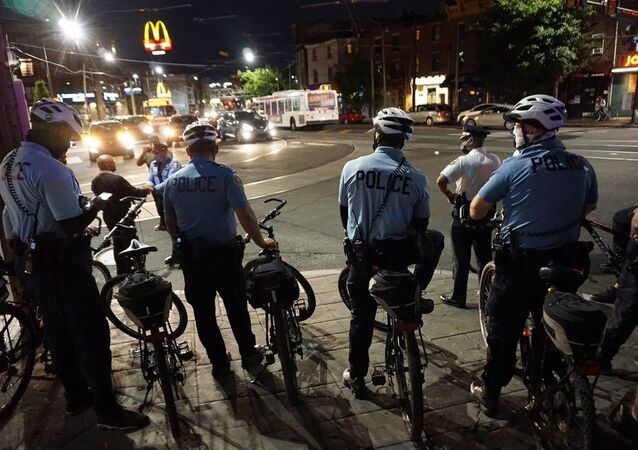 Police officers on bicycles in the Fishtown neighborhood of Philadelphia, Pennsylvania, United States.