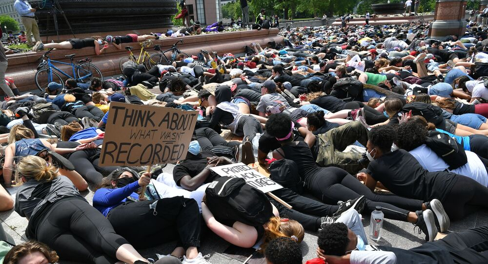 People lay down in protest for the death of George Floyd near the US Capitol on June 3, 2020, in Washington, DC.