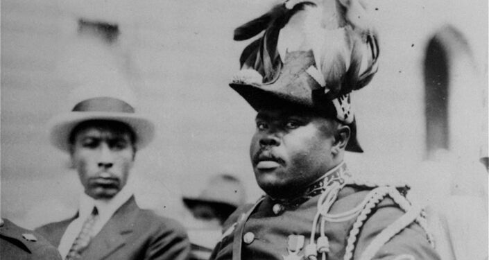 Marcus Garvey wearing the uniform of the Provisional President of Africa during a parade in Harlem, New York in 1922.