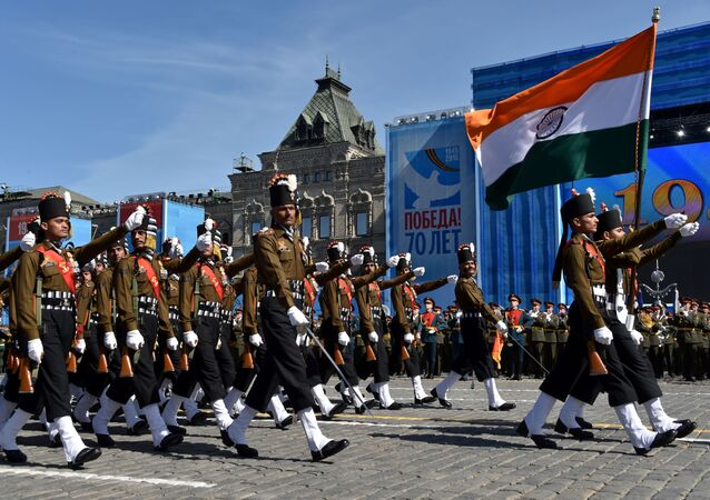 Indian soldiers march as they take part in a rehearsal for the Victory Day military parade on Moscow's Red Square on May 7, 2015