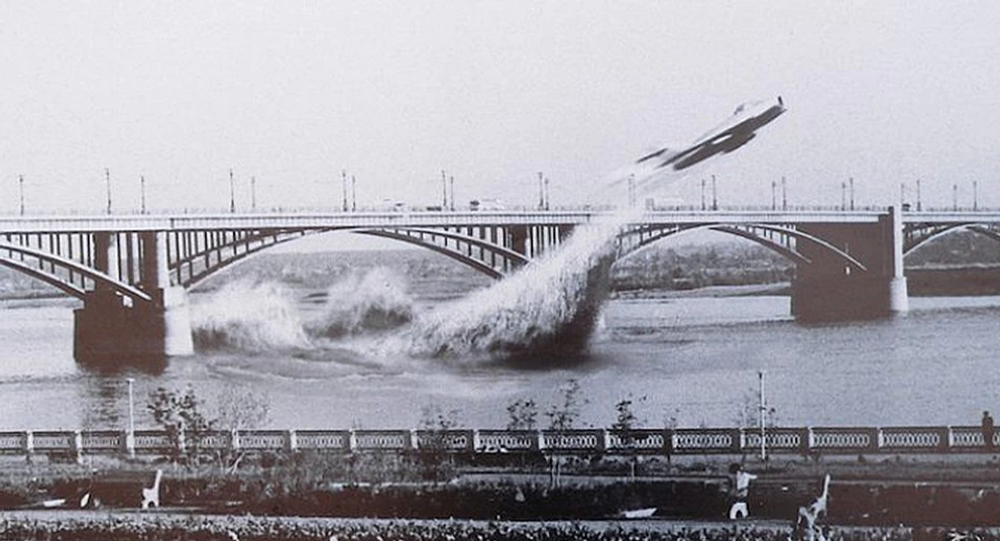 Photo collage illustrating the moment a Soviet Air Force pilot flew his MiG underneath a bridge in Siberia in 1965.