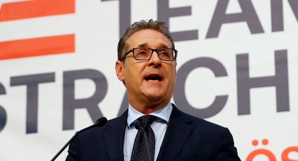 Former Austrian Vice Chancellor Heinz-Christian Strache speaks at a news conference, amid the coronavirus disease (COVID-19) outbreak, in Vienna, Austria, May 15, 2020