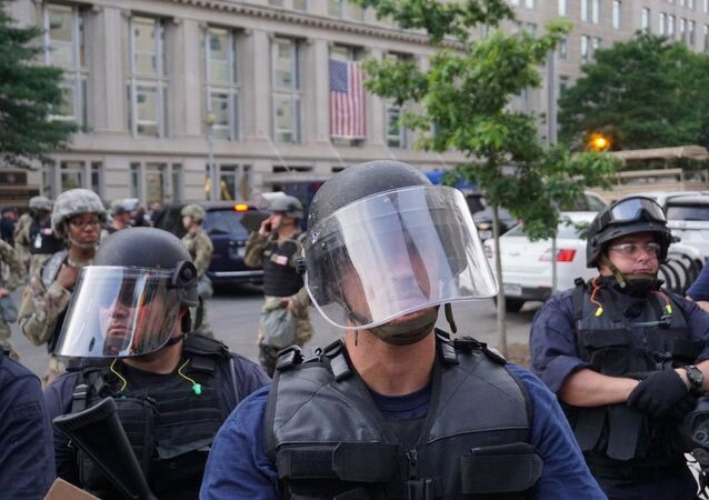 Policemen during protests in Washington DC on 3 June 2020