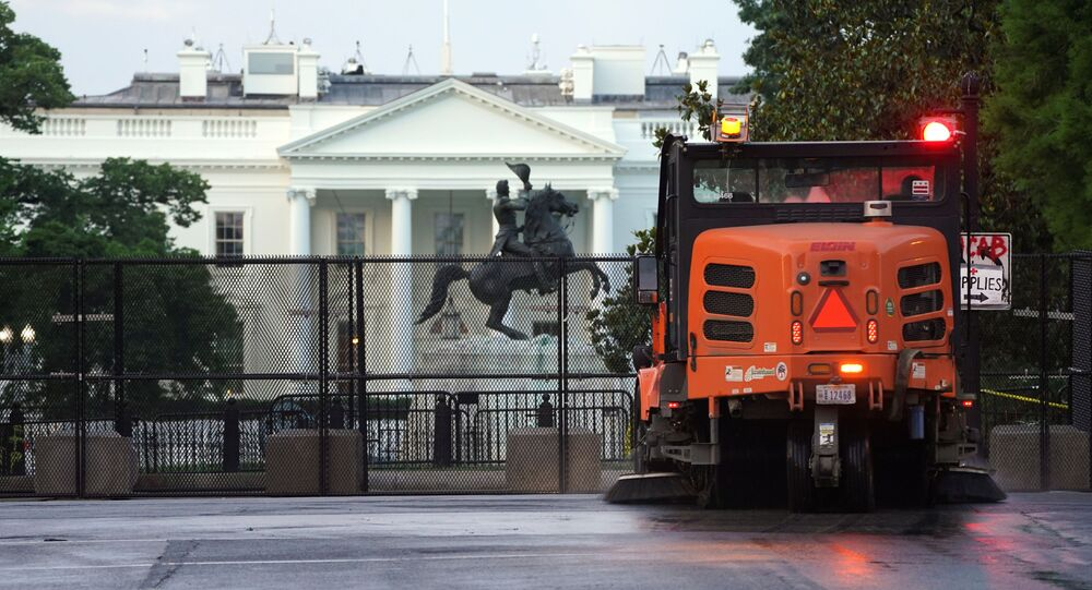 At sunrise, streets are cleaned in front of the White House after a night of protests for the death in Minneapolis police custody of George Floyd in Washington, U.S., June 4, 2020