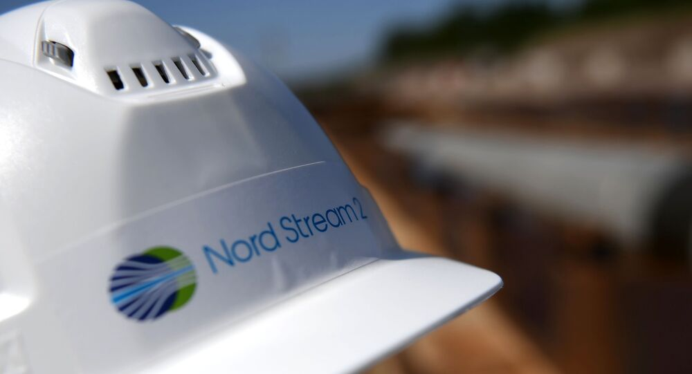 Helmet of a worker on the construction site of the Nord Stream-2 gas pipeline