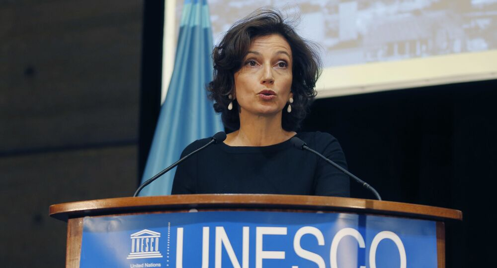 UNESCO'S Director-General Audrey Azoulay delivers a speech during the presentation of the website to counter Holocaust denial and anti-Semitism at the UNESCO headquartered in Paris, France, Monday, Nov. 19, 2018.