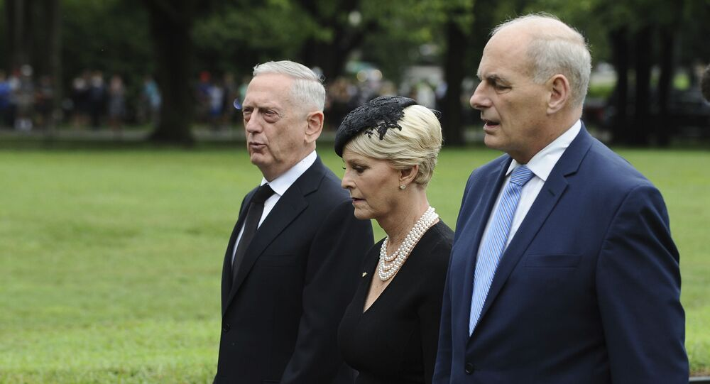 Cindy McCain, wife of late Sen. John McCain, R-Ariz., with Secretary of Defense James Mattis, left, and White House Chief of Staff John Kelly, depart after laying a ceremonial wreath honoring all whose lives were lost during the Vietnam War at at the Vietnam Veterans Memorial in Washington, Saturday, Sept. 1, 2018.
