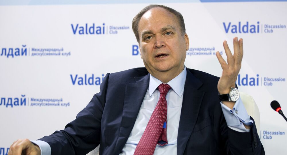 Anatoly Antonov, Russian ambassador to the U.S. gestures while speaking during a round-table discussion on the Trump-Putin summit in Helsinki in Moscow, Russia, Friday, July 20, 2018.