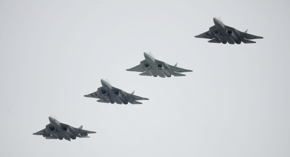 Russian Su-57 fifth-generation fighter jets during the Victory Parade in Moscow