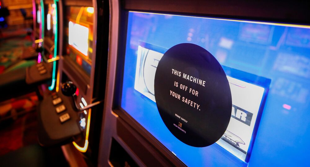 A disabled slot machine to ensure social distancing is seen during the reopening of Bellagio hotel-casino, closed since March 16, 2020 as part of steps to slow the spread of the coronavirus disease (COVID-19), in Las Vegas, Nevada, U.S. June 4, 2020.