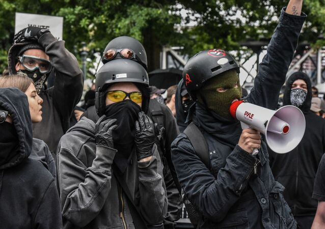 Counter-protesters wear black clothes during an Antifa gathering during an alt-right rally on August 17, 2019 in Portland, Oregon
