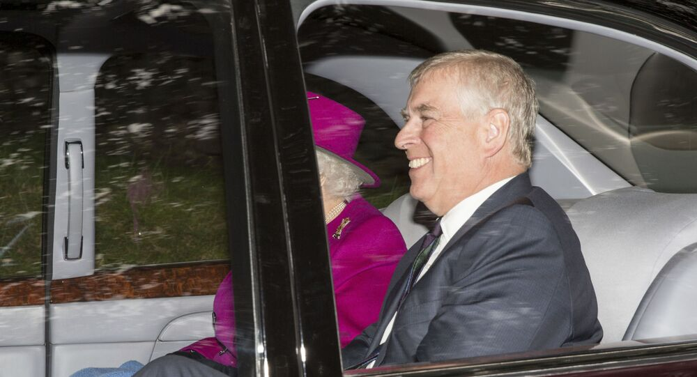 Britain's Queen Elizabeth leaves with her son Prince Andrew, at Crathie Kirk after attending a Sunday morning church service near Balmoral, Scotland, Sunday, Sept. 15, 2019