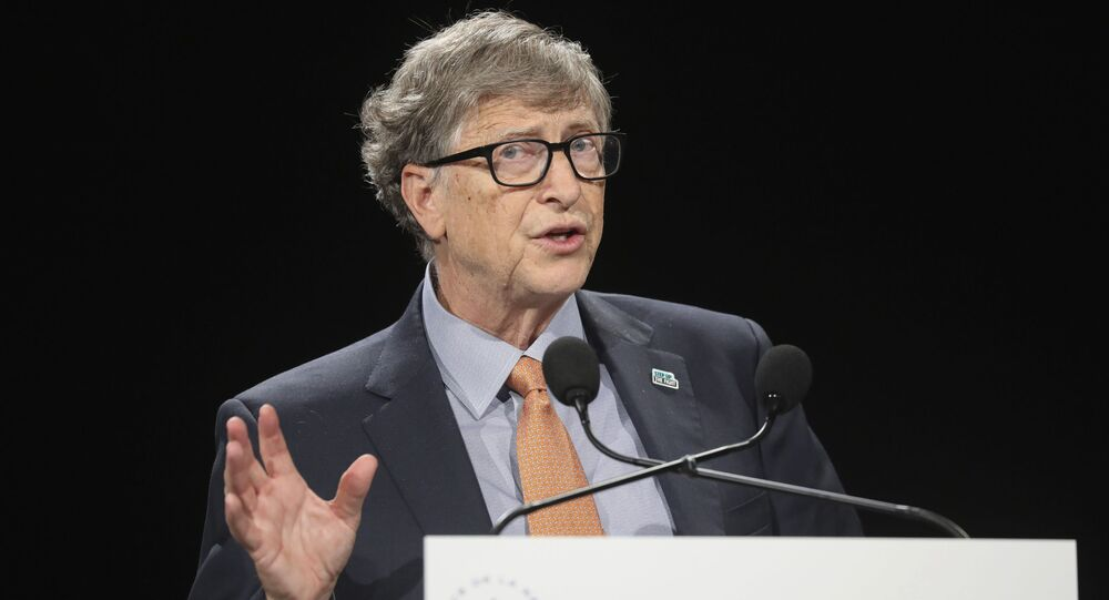 Philanthropist and Co-Chairman of the Bill & Melinda Gates Foundation Bill Gates gestures as he speaks to the audience during the Global Fund to Fight AIDS event at the Lyon's congress hall, central France, Thursday, Oct. 10, 2019