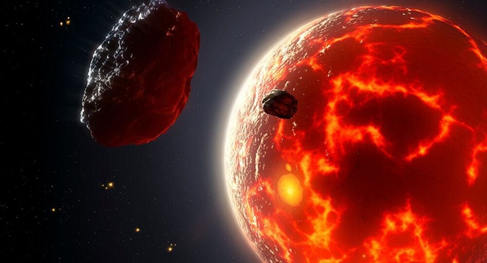 Artist's impression of magma ocean planet.