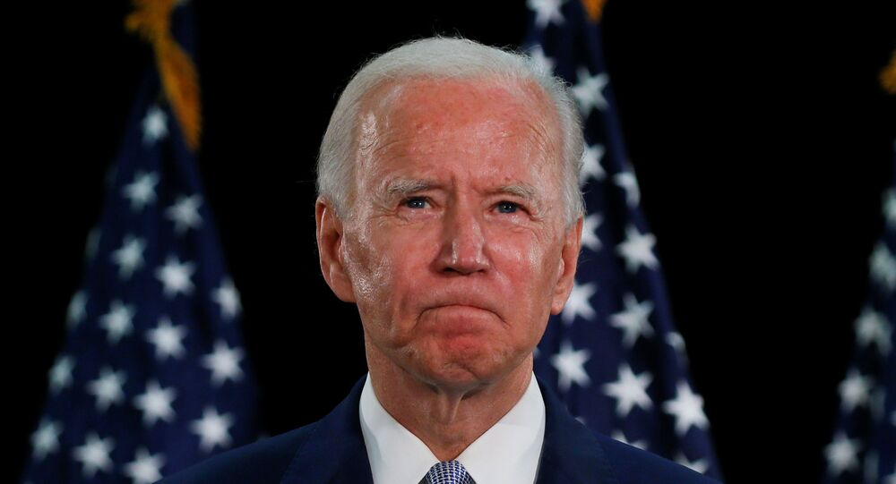 U.S. Democratic presidential candidate and former Vice President Joe Biden speaks during a campaign event about the U.S. economy at Delaware State University in Dover, Delaware, U.S., June 5, 2020.