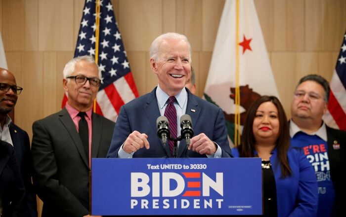 Democratic U.S. presidential candidate and former Vice President Joe Biden speaks during a campaign stop in Los Angeles, California, U.S., March 4, 2020.