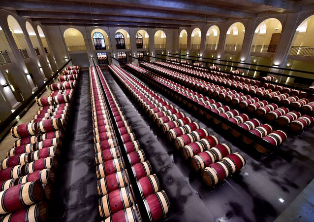 A general view taken at the Chateau Montrose wine estate in Saint-Estephe near Bordeaux on June 4, 2020 shows wine barrels during a 'primeurs' Bordeaux wines tasting according to sanitary rules after France eased lockdown measures taken to curb the spread of the COVID-19 pandemic, caused by the novel coronavirus.