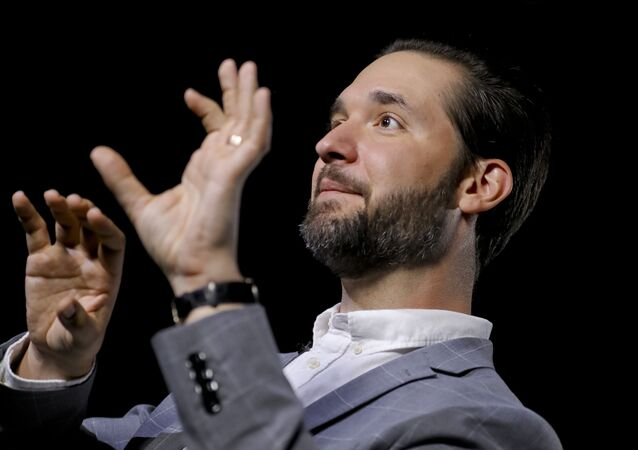 In this Tuesday Feb. 19, 2019, photo Alexis Ohanian, founder of the social media company Reddit, speaks during an interview in New York. Ohanian says he can't imagine how he and Serena Williams would have coped with a new baby if he had not been able to take leave from his job