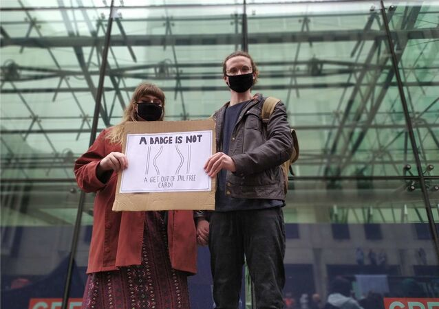 A couple during a protest in London