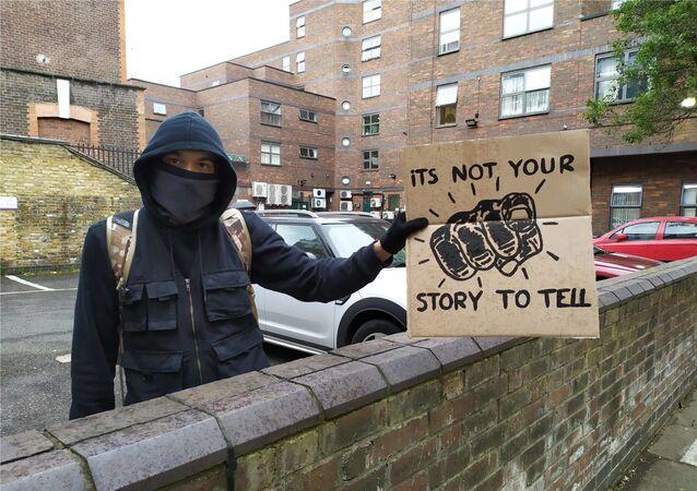 Protester in London