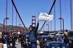 Black Lives Matter protesters march through Golden Gate Bridge in San Francisco, 6 June 2020