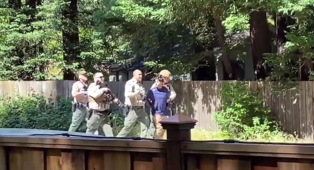 Screenshot of the video of a suspected gunman in Santa Cruz taken into custody