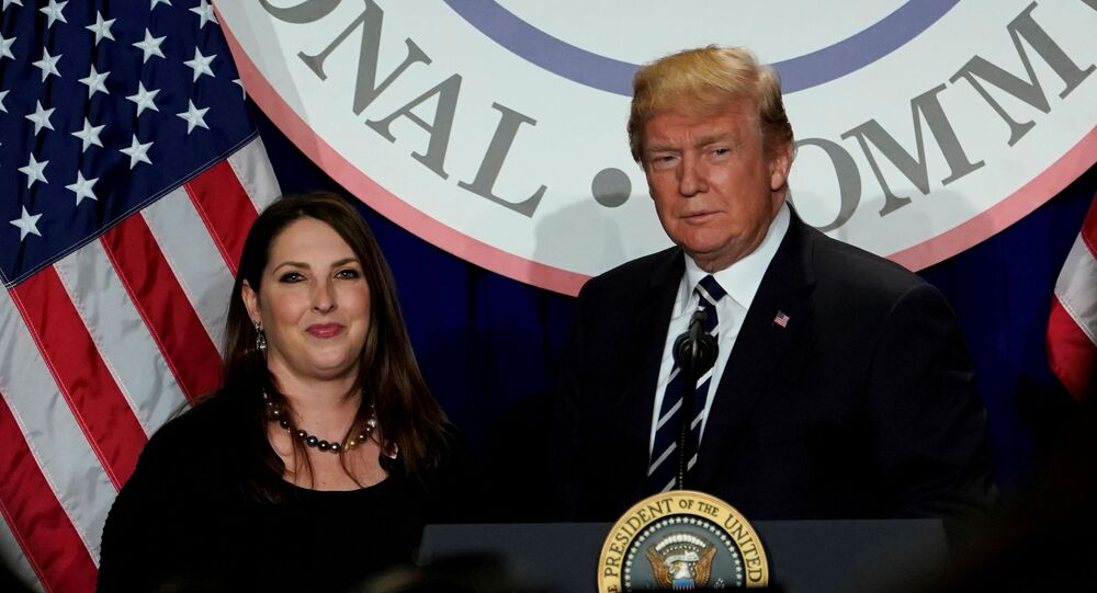 US President Donald Trump is introduced by RNC chairwoman Ronna McDaniel at the Republican National Committee's winter meeting at the Washington Hilton in Washington, DC, 1 February 2018