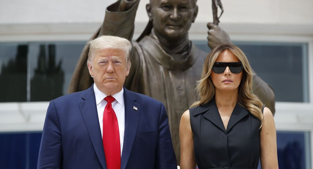 President Donald Trump and first lady Melania Trump visit Saint John Paul II National Shrine, Tuesday, 2 June 2020, in Washington